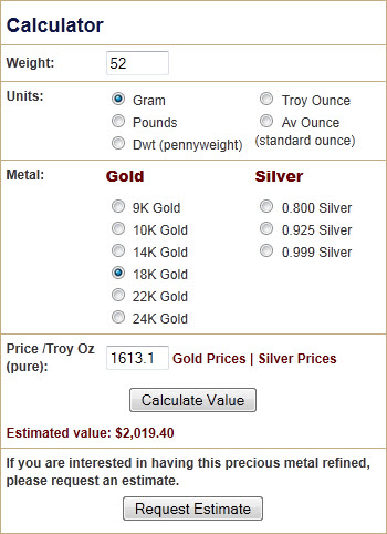 Gold Jewelry Calculation