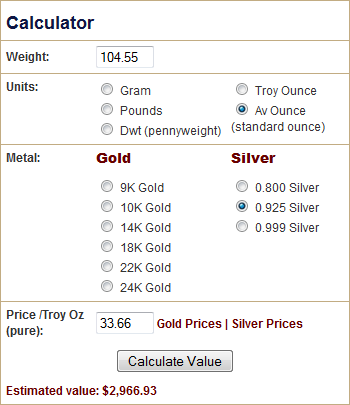 Silver Value Calculator